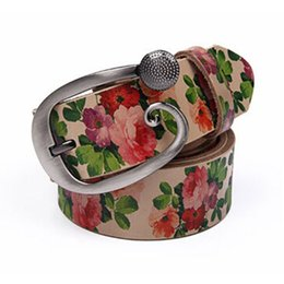 Wholesale- New Arrival Cow Split Leather Belts for Women Fashion Printed Vintage Alloy Pin Buckle Belts Waistband Women Belt ceinture femme от