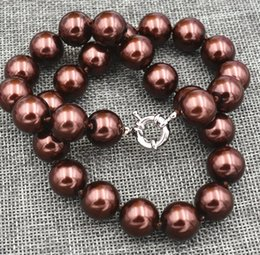 Wholesale brown beaded necklaces - Charming! 14mm Coffee Brown Shell Pearl Jewelry Necklace 18 inches AAA