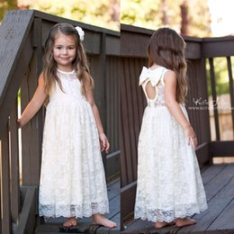 Wholesale Solid Maxi Dresses Wholesale - Girls Lace tutu Wedding Party Dresses Kids Girl Princess Bow Dress Babies Summer Maxi Dress 2017 childrens clothing