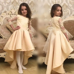 Wholesale Tulle Ribbon Flower Chiffon - Champagne High Low Girls Pageant Gowns Lace Appliques Sheer Long Sleeves Flower Girl Dresses For Wedding With Tulle Sash Cheap Baby Dress