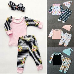 Wholesale Toddler Cotton Tshirts - Ins 2017 Spring New Baby Fashion Sets Long Sleeve Tshirts+Pants+Hats Three Piece Outfits Toddlers Clothing 0-2Y C0445