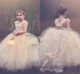 Wholesale Cheap Birthday Tutus - Ball Gown Lace Flower Girl Dresses 2017 Champagne Tutu Cheap Cap Sleeves Criss Cross Back Puffy Little Girls Kid First Communion Dresses