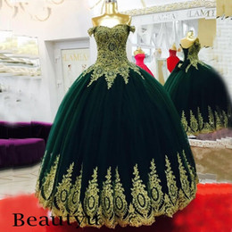 Wholesale Emerald Skirt - Emerald Green Ball Gown Prom Dresses 2017 Off Shoulder Gold Lace Appliques Tulle Skirt Arabic African Party Formal Evening Gowns Plus Size