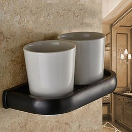 Wholesale Classic Style Luxury Black Copper Toothbrush Tumbler And Double Tumbler Cup Wall Mounted Toothbrush Holder Bathroom Accessories