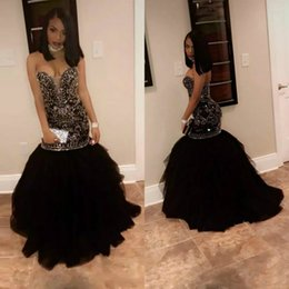 Wholesale Nude Sparkly Dresses - Luxury Mermaid Evening Dresses Sparkly Crystal Beading 2017 Evening Party Gowns Sweetheart Zuhair Murad Tulle Black Girl Prom Dress