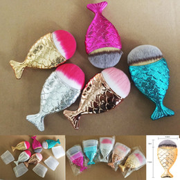 Wholesale New Hair Colors - New Mermaid Makeup Brush Powder Contour Fish Scales Mermaidsalon Foundation Brush face brushes for Beauty Cosmetics 5 Colors