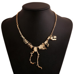 Wholesale Gothic Fashion Women - Wholesale-2016 Fashion Gothic Dragon Tyrannosaurus Skeleton Dinosaur Necklaces & Pendants Chain Choker Collar Necklace Women
