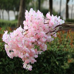 Wholesale cherry ornament - Three Branches for one Bouquet Artificial Cherry Blossom Flower Garland for Home Ornament Wedding Backdrop Arch Decoration