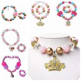 Wholesale Bracelet Charms For Kids - childrens jewelry sets chunky necklace bracelet for kid girls christmas gifts gold bubblegum beads jewellery toddler birthday party supplies