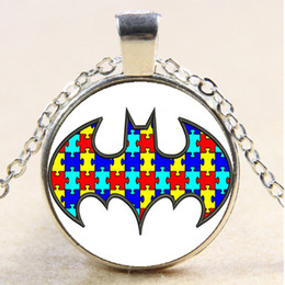 Wholesale Batman Birthday - 10pcs Batman Autism Chain Necklace,Christmas Birthday Gift,Cabochon Glass Necklace Silver Bronze Black Fashion Jewelry Pendant