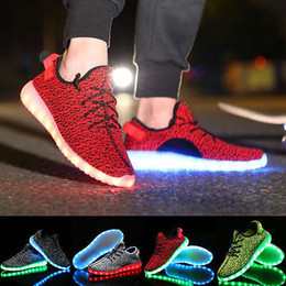 Wholesale Lead Shoe Laces - Hot LED Shoes Light Up colorful Flashing with USB Charge Unisex Fluorescent Couple Shoes Party and Sport Casual Shoes for Kid and Adult