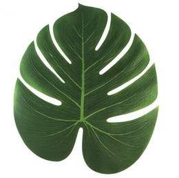 Wholesale Wholesale Silk Leaves - 35x29cm Artificial Tropical Palm Leaves for Hawaii Luau Party Decorations Beach Theme Wedding Table Decoration Accessories G695