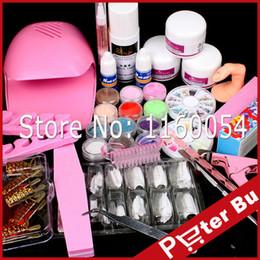 Wholesale french nail acrylic kit - Wholesale- Dryer Nail Kit 12 Acrylic Powder Liquid Kit Glue Brush Glitter Clipper Primer Buffer File Nail Form French Nail Art Tips Set Kit
