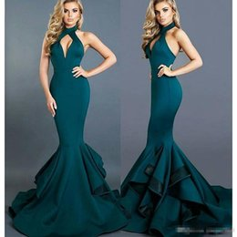 Wholesale Crystal Michael - 2017 Michael Costello Evening Gowns Sexy Design Dark Green High Collar Cuthole Backless Ruffled Sweep Train Mermaid Prom Dresses