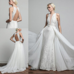 Wholesale Trail Wedding - Barbara Kavchok Sexy Sheath Wedding Dresses Sleeveless V Neck Floor Length Lace Applique Backless Detachable trail Bridal Gowns