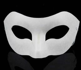 Wholesale Hip Hop Dance Masks - Party Zorro Mask White Hand-painted masks Half Face Mask Halloween blank paper DIY Hip-Hop mask street dancing Christmas gifts
