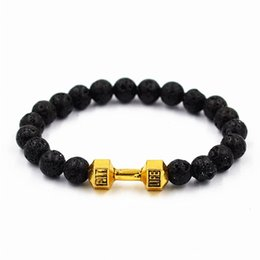 Wholesale Tiger Eye Bracelet For Women - Wholesale- Natural Stone Unisex Lava Tiger Eye Barbell Jewelry Beads Bracelet Men Fitness Fit Life Prayer Dumbbell Bracelets for Women