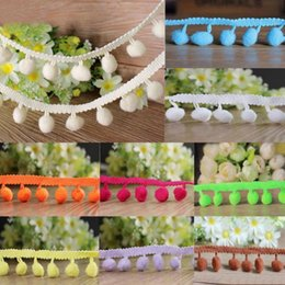 Wholesale Wholesale Braided Trim - 20 yards 10mm Ball Pom Pom Bobble Trim Braid Fringe Ribbon Edging Craft Decoration 20 Colors to choose