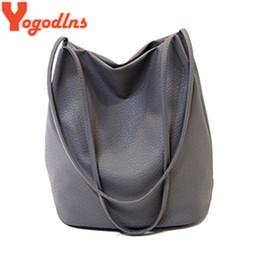 Wholesale Large Clear Handbags - Yogodlns Women Leather Handbags Black Bucket Shoulder Bags Ladies Cross Body Bags Large Capacity Ladies Shopping Bag Bolsa