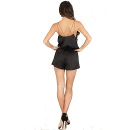 Wholesale Women Silk Jumpsuit - 4 Color Woman Harness Jumpsuits 2017 Summer New Fashion Sexy Loose Deep V Neck Sleeveless Backless Shorts Silk Club Jumpsuits