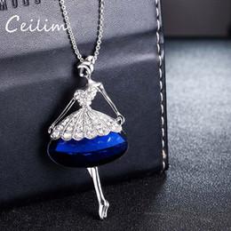 Wholesale Kawaii Princess - Fashion jewelry kawaii cute swan dance girl pendant charms statement necklace for women blue & gray glass crystal princess necklaces 2017