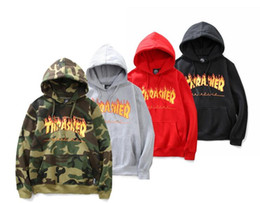 Wholesale Fire Belts - Autumn Winter Men's Sportswear Hooded Sweatshirts Europe American 6 Colors Fire Letters Hooded Men Women Plus Cashmere Sweater Hoodies