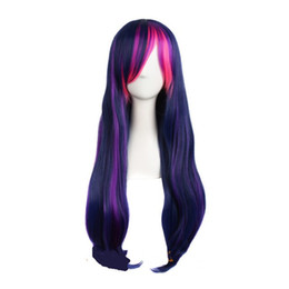 cosplay white straight long hair Promo Codes - Long straight synthetic hair green blue white purple 5 color 24 inch ombre womens cosplay wig Costume Party peruca
