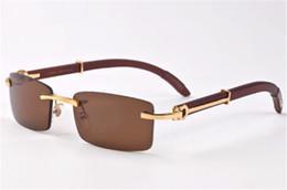 Wholesale Mirror Plain Glass - Classic buffalo wood plain mirror glasses fashion rimless rectangle men sunglasses lunettes de soleil size 55-18-140mm