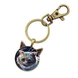 Wholesale glass dome rings - 5pcs Creative Cheshire Cat Glass Round Dome Key Chain Pendant Alice In Wonderland Vintage Jewelry Antique Bronze Key Ring Chain