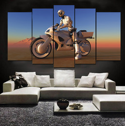 Wholesale Robot Painting - On Mars Motorcycle Riding Robot Frameless Paintings 5pcs(No Frame)Printd on Canvas Wall Art HD Print Painting Picture