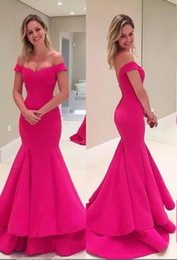 Wholesale Shirred Gown - 2017 Cheap Cute Mermaid Prom Dresses Off the Shoulder Shirred Skirt Sweep Train Fuchsia Satin Bridesmaid Dresses Formal Party Gowns
