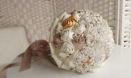 tea crystals Australia - 2017 Hot Sale Wedding Bridal Bouquets with Handmade Flowers Peals Crystal Rhinestone Rose Wedding Supplies Bride Holding Brooch Bouquet