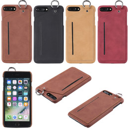 Wholesale Wholesale Pocket Pc S - New arrival For Apple iPhone 6 s plus Cover With Card Slot PC+PU Leather Finger Ring Phone Cases For iPhone 7 7Plus Case