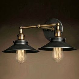 Retro Two Swing Arm Wall Lamps Sconces Iron Shade Painted Finish RH  Restoration Light Fixture,Wall Mount Swing Arm Lamps