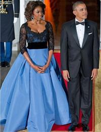 Wholesale Michelle Obama - Michelle Obama Contrast Color V Neck Appliqued Beaded Half Sleeve Mother Dresses Elegant Long Evening Dress For Wedding Party
