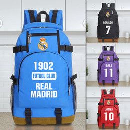 Wholesale Hiking Backpack Canvas - landy house 2017 The basketball team Real Madrid football club computer backpack shcool bags sports backpack team Souvenirs