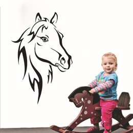 Wholesale Graphic Products - Head Of Horse Wall Stickers For Kids Rooms Household Products Animals Wall Decor Vinyl Art Wall Decals