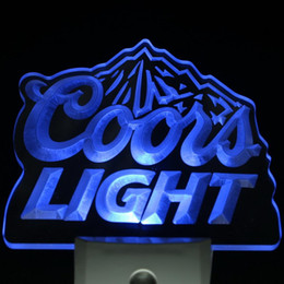 Wholesale Coors Beer Lighted Signs - Wholesale- ws0002 Coors Light Bar Beer Decor Day  Night Sensor LED Night Light Sign