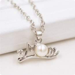 Wholesale Korean Necklaces Mixed Style - Mom Necklace Rose Love Mom Crystal Rhinestone Diamond Korean folk style retro natural pearl Family necklace Pendant Mix Modles free DHL