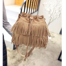 Wholesale Womens School Shoulder Bags - New Women Messenger bags Womens Fashion Casual Tassel Solid Bag Drawstring Shoulder Bags for daily and school office