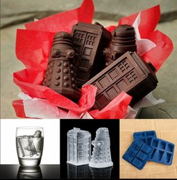 Wholesale Candy Tubs - Doctor Who Tardis Dalek Ice Cube Tray Safe Silicone Chocolate Cake Mold Silicone Ice Cube Tray Candy Chocolate Mold Kitchen Tool KKA1382