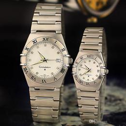 Wholesale Blue Gem Stones - Hot sale Men Women Lovers Watches Luxury brand Dress Quartz Wristwatches Round Diamond Dial Stainless Steel Band Watch for Mens Ladies