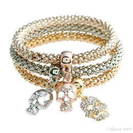 Wholesale American Curves - 2017 Skeleton Bangle Statement Simple Crystal Alloy Curved Bohemian Ethnic Bracelet Bracelet Women Multi Layer Bangles New Fashion Jewelry