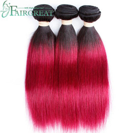Fairgreat Ombre Brazilian Human Hair Bundles Peruvian Straight Hair weaving Two Tone Colored Non Remy #T1B 118 Brazilian Human Hair Wefts Coupon
