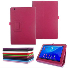 Wholesale Tablet Xperia Z Leather - Fold Stand Book Leather Smart Cover With Pen Holder Auto Sleep Wake UP Flip Case for 10.1 inch Sony Erisson Xperia Tablet Z Z2 Z3 Z4