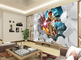 Wholesale Background Size - Custom any size 3D Stereo Iron Man TV background wall mural 3d wallpaper 3d wall papers for tv backdrop