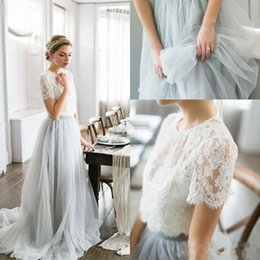 Wholesale Bohemian Style Lighting - 2016 Country Style Bohemian Bridesmaid Dresses Top Lace Short Sleeves Illusion Bodice Tulle Skirt Maid Of Honor Wedding Guest Party Gowns