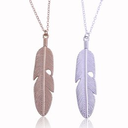 Wholesale Long Sweater Necklaces - fashion charm lady Han edition fashion jewelry popular contracted fine feather necklace long leaves clavicle chain sweater 2color to choose