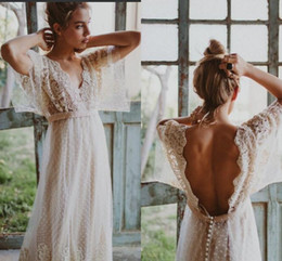 Wholesale Long Style Bohemia Dress - Western Country Style Vintage Lace Dot Tulle Long Wedding Dresses V Neck Half Sleeves Backless Bohemia Wedding Dresses For Beach Summer 2018