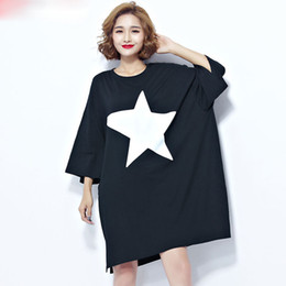 Wholesale Dreeses Woman - Plus Size Women T-Shirt Summer Cotton Star Pattern Print Female Casual Korea Fashion Large Size Black Dreeses Brand Tops
